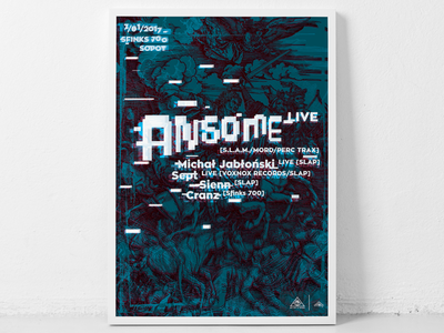Ansome gig poster lettering poster rave techno typography