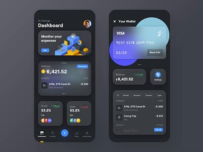 Fintech - Dark Theme chart finance financial fintech animation design application app ux ui