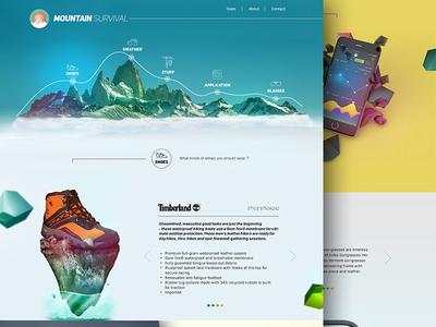 Mountain Survival weather website app survivale mountain concept ux ui