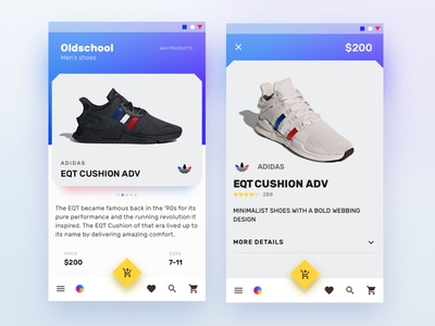 Sneaker shop application app adidas ux design material shop sneaker ui