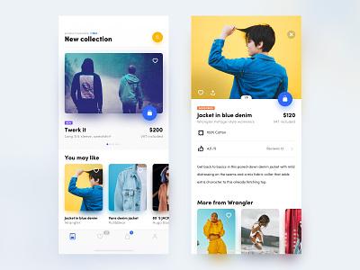 Shop app twerk jacket wrangler card shopping collection clothes shop icon design ux application app ui