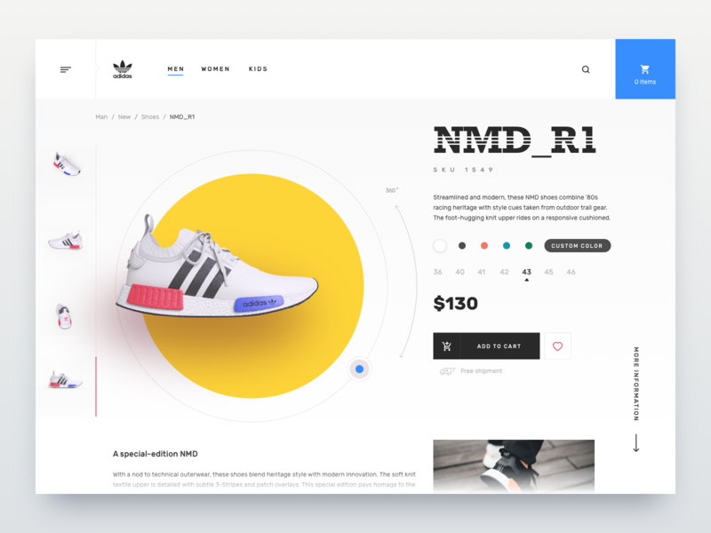 Sneakers shop shop design rotation 3d commerce web snakear shop design app application ux ui