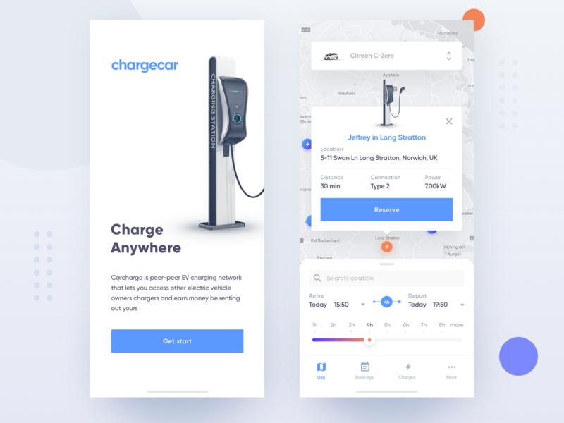 Chargecar estimation estimate charging charger car vehicles vehicle book design app application ux ui