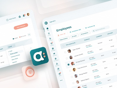 Agendrix — Our new colors arrive just before summer. 🌿 webapp design webapp ui scheduling app scheduling primes planning peachy list interface icons greenery employee desktop app design dashboard ui colors application design application agendrix