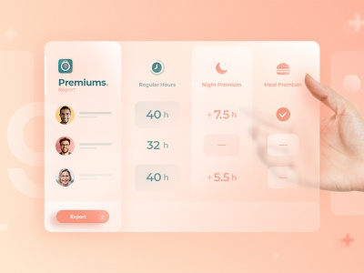 Agendrix — Premiums 💰 futuristic application ui interface design ui total scheduling app report greenery peachy hours glass frosted glass form export employees colors desktop app agendrix add-ons