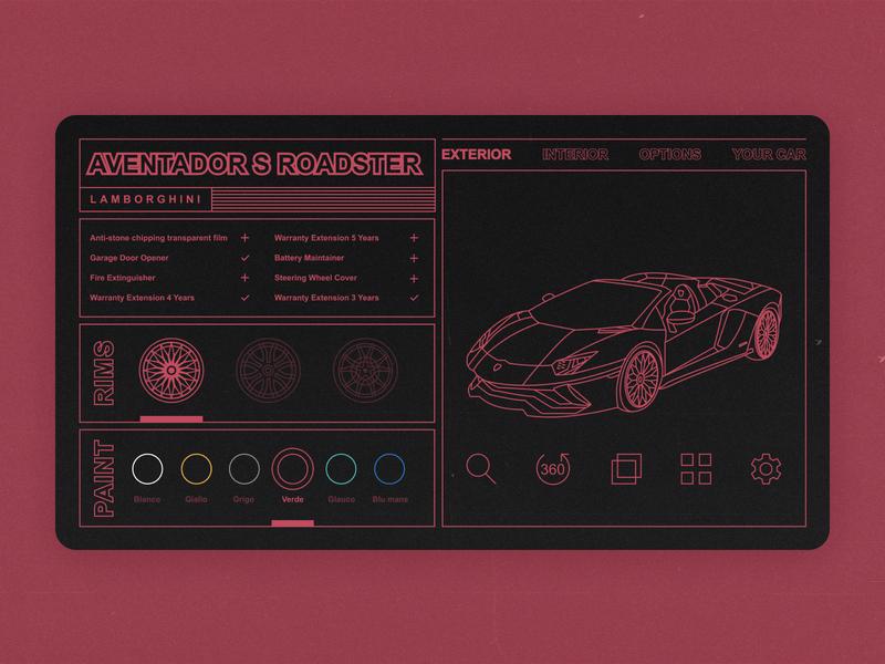 Lamborghini Configurator line art swiss configurator car ux ui minimalism illustration