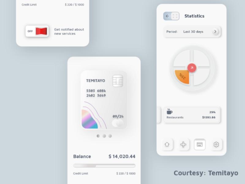 Card design banking finance mobile app