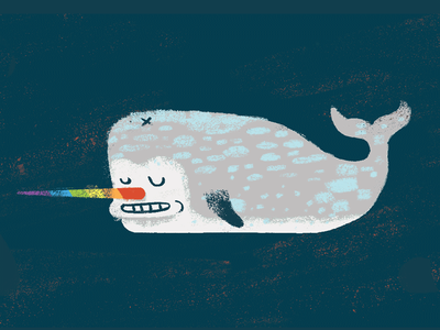 Unicorn of the Sea quirky creature rainbow narwhal