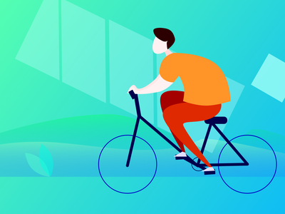 cycling-趣动APP-骑行状态插画 illustration design ui