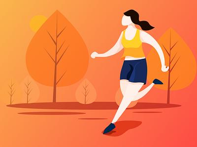 running-趣动APP-跑步状态插画 illustration design ui