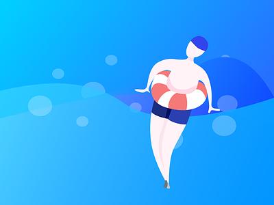 swimming animation illustration design ui
