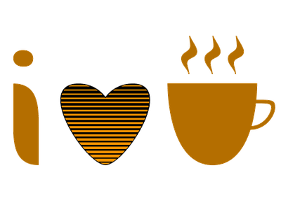 I Heart Coffee coffee icon type design lettering