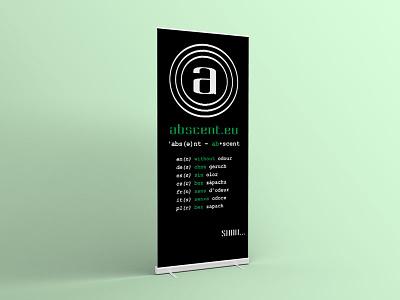 Abscent Rollup 2016 exhibition presentation minimal multilingual branding rollup