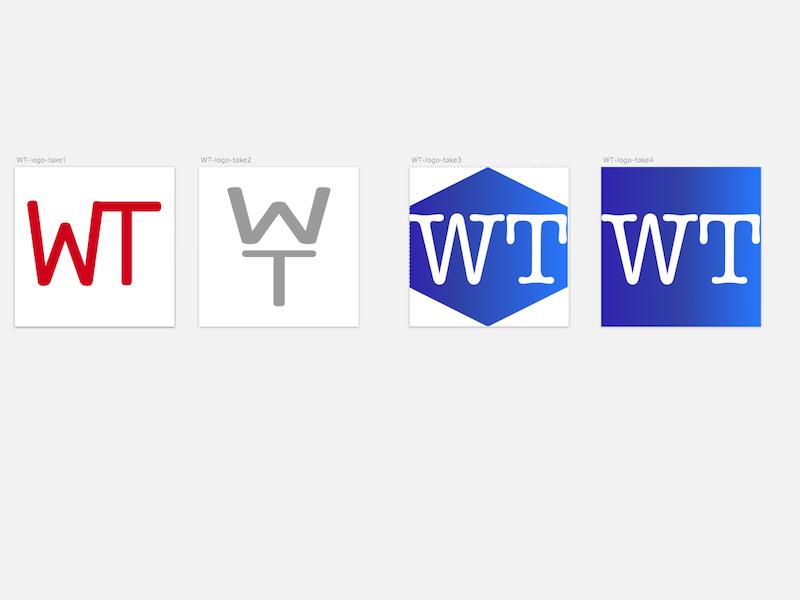 wt logo logotype minimal white blue logo