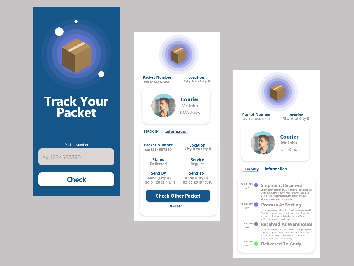 Track Your Packet Application vector package packet courier blue illustration app ui ux adobe xd design application uiuxdesign adobe ilustrator