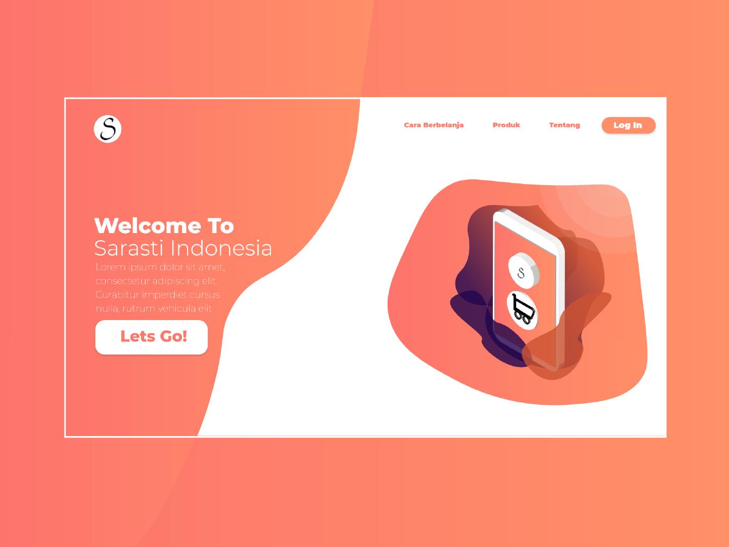 Landing Page Website Sarasti Indonesia v2 illustration gradient color branding web  design application adobe xd vector ux ui uiuxdesign design adobe ilustrator