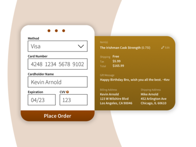 Whiskey Checkout Screen