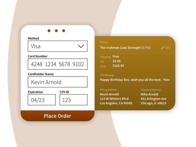 Whiskey Checkout Screen ui ux designer ux design ui daily ui deisgn ui design app designer app design checkout page checkout form daily ui