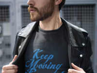 T shirt mockup of a man wearing a leather jacket on the street 20055