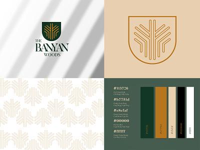 The Banyan Woods Logo Design vector tree logo woods logo hotel logo typeface graphic design business card graphic pattern logo branding design logo design