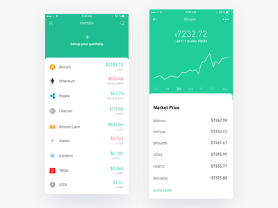 Coinflow - Cryptocurrency Tracking and Portfolio app mobile ios graph data currency ux ui crypto coins