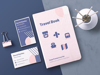 Senja icon pack illustration kit logo line icon set id card iconography map discover travel icon pack iconset ui branding icon design illustration