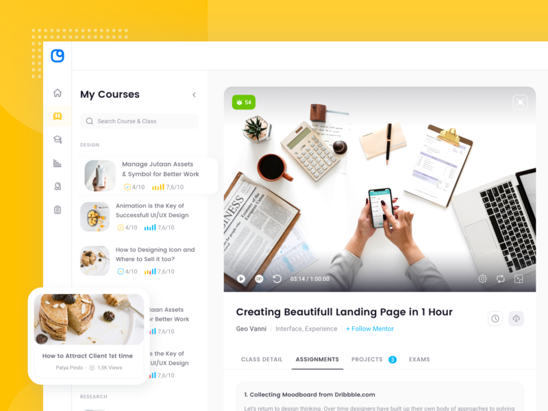 Course Dashboard Page dashboard ui kit sidebar learning management system lms course analytic dashboard website design