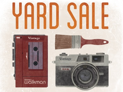 Yard Sale yard sale poster vector camera walkman paint brush