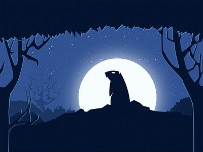 Groundhog forest moon logo night
