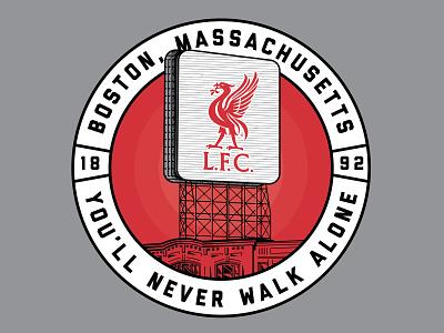 LFC - Boston Landmark ynwa sign building fenway apparel tee illustration liverpool football club lfc landmark citgo boston