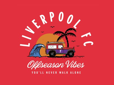 LFC - Offseason Vibes illustration liverpool football club lfc wave car jeep palm tree summer handmade hand drawn