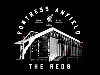 LFC - Fortress Anfield texture apparel tee anfield building vector illustration liverpool liverpool football club lfc