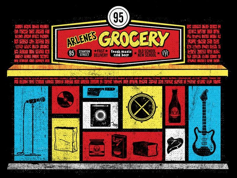 Arlenes Grocery Tee illustration grocery tee t-shirt icons music beer food butcher venue nyc texture