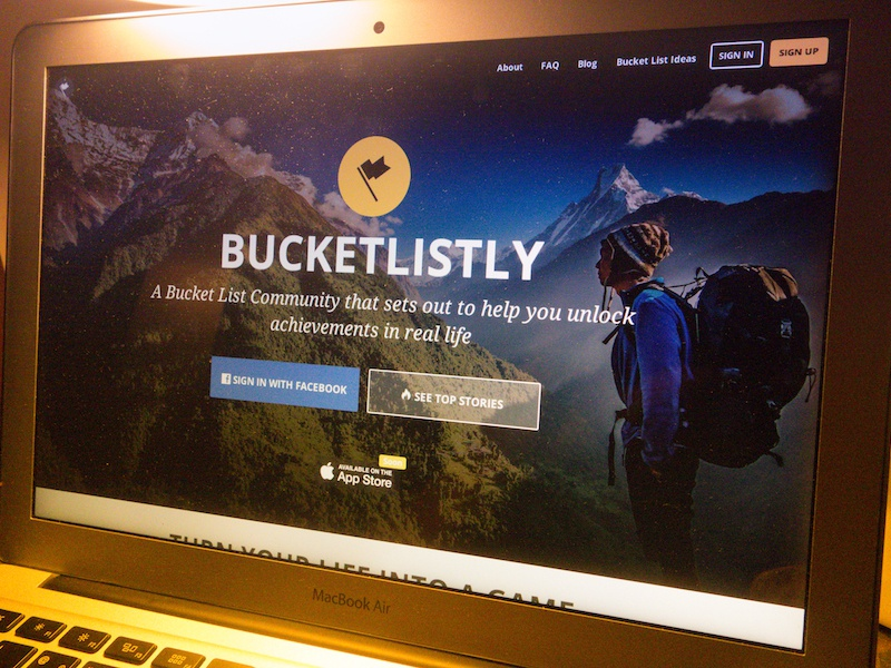 BucketListly 3.0 website web app flag typography black yellow photo badge unlocked achievement bucketlistly flat