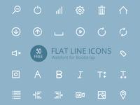 Flat Line Icons Webfont Freebie