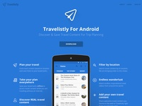 Travelistly for Android Landing Page