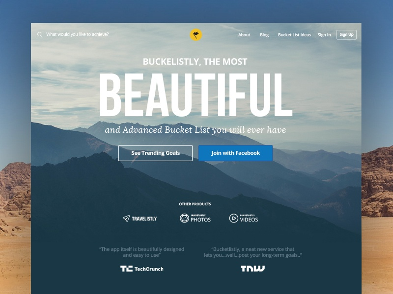 BucketListly Landing Page 4 typography blue travel bucket list app website web design landing page