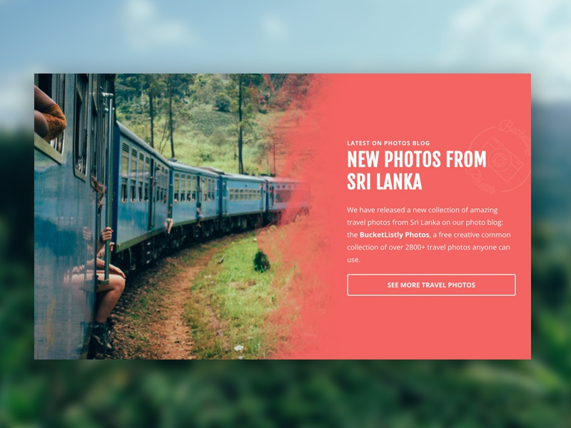 BucketListly Landing Page 4/2 painting typography photo red pink card landing page web design