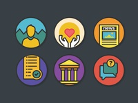 Colorful Icons on Boring Pages colorful minimal guideline comments terms privacy profile donate page icons