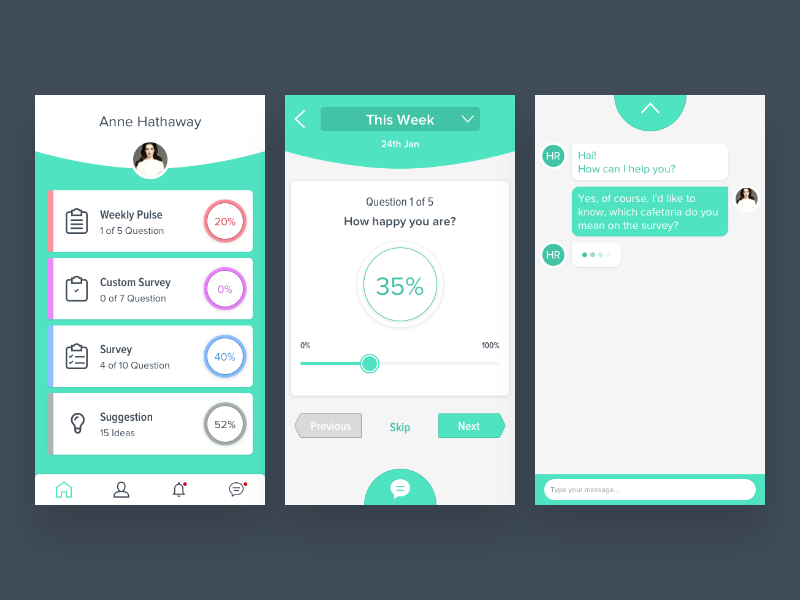 Survey Employee Apps weekly mobile ios ux ui app employee survey