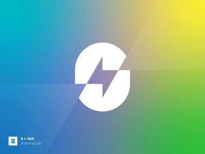 S + Volt (Senergy) Mark Design branding vector type lettermark logos sharp gradient abstract art abstract design abstract logo symbol icon logotype mark logo design logo