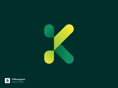 K Monogram Design gradients green simple round logo round lettering letter mark graphic design type gradient vector branding lettermark logo logo design icon