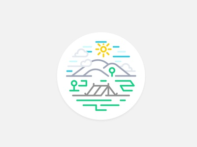 Camping (line-style badge design) rounded badge simple concept artwork art lineart linestyle lines vector mark illustration illustrative