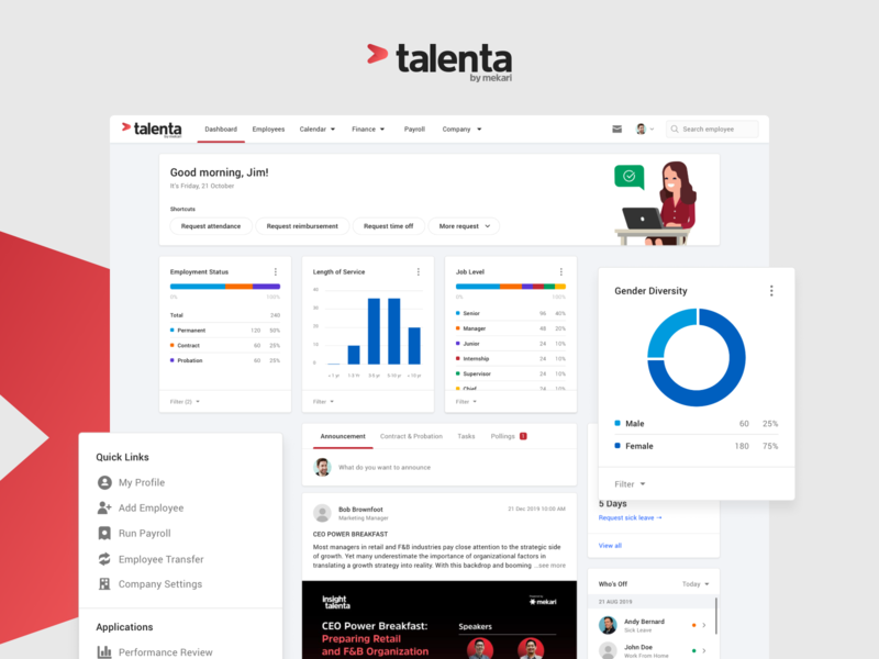Talenta Dashboard Page home statistics chart admin ui clean application dashboard web interface design