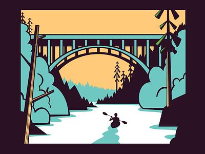 Paddle Oregon outdoors nature oregon river paddle board paddling kayaker kayak bridge vector forest trees illustration