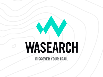 Wasearch Logo Trail animation w nature hiking trail search mountain logo mountain branding logo design forest
