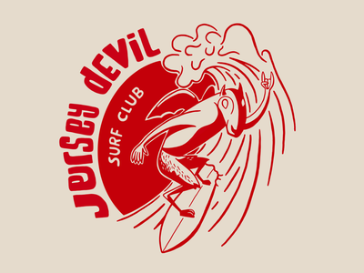 Jersey Devil Surf Club surfing wave east coast new jersey surfer jersey devil devil surf illustration