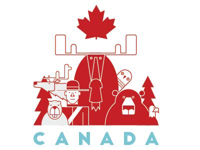 Canada maple leaf eagle owl beaver caribou moose bear sticker mule canada