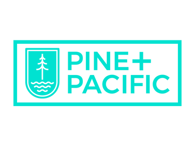 Pine And Pacific badge forest ocean water waves tree pacific pine teal logo
