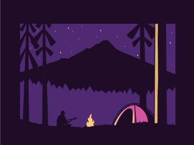 Mountain Camping trees stars pine trees fire tent camping mountain